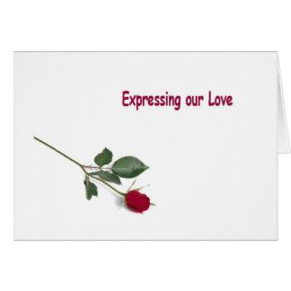 Uttrycka vår kärlek med ett röd roskort kort