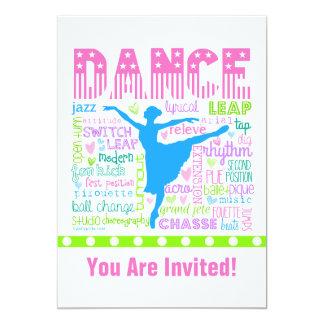 Uttrycker den pastellfärgade dansare för 12,7 x 17,8 cm inbjudningskort