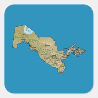 Uzbekistan kartaklistermärke fyrkantigt klistermärke