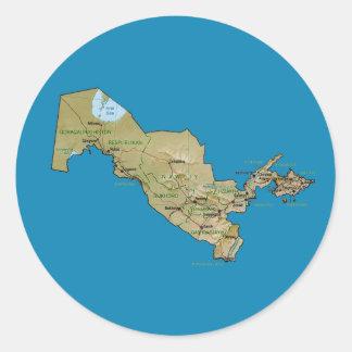 Uzbekistan kartaklistermärke runt klistermärke