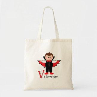 V är för brevHalloween för vampyren den Loveable t Tote Bags