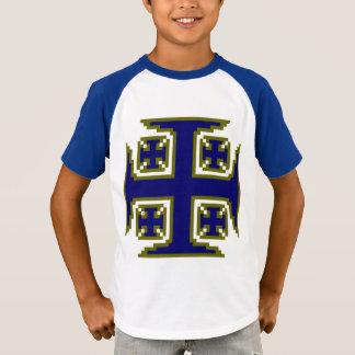 V-Nacke för blåttKross™ Retro randig sleeve T-shirt