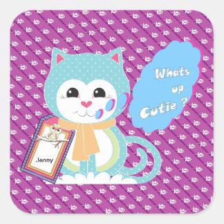 Vad är upp cutie fyrkantigt klistermärke