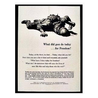Vad gjorde du i dag för frihet? vykort