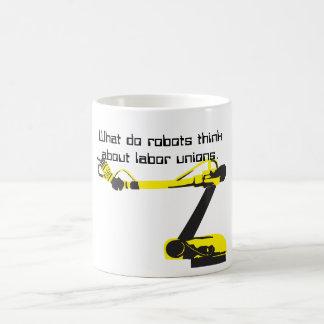 Vad gör, tänker robotar omkring kaffemugg