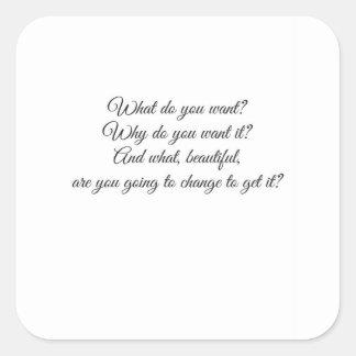 Vad önskar du? fyrkantigt klistermärke