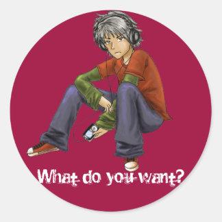 Vad önskar du? klistermärkear runt klistermärke