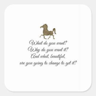 Vad önskar du unicorn? fyrkantigt klistermärke