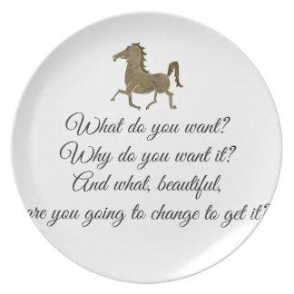 Vad önskar du unicorn? tallrik