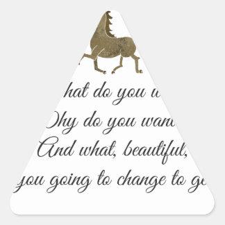 Vad önskar du unicorn? triangelformat klistermärke