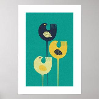 Vadande fåglar - modernt/minimalist mitt- århundra poster