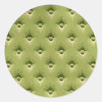 Vadderad olivgrön vintagetapet rund klistermärke