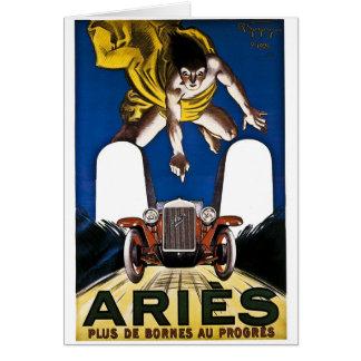 Vädurbil - vintagefranskannonsering hälsningskort