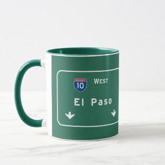 Väg för motorväg för huvudväg för El Paso Texas tx Mugg
