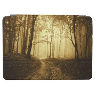 Väg i en mörk skog med dimma iPad air skydd