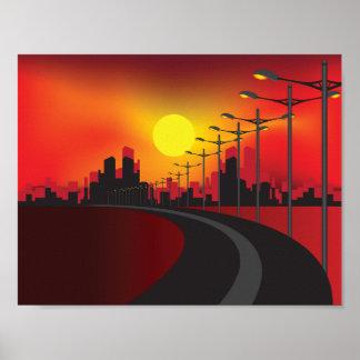 Väg på solnedgångaffischen poster