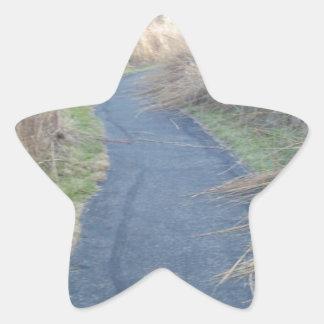 Väg till och med nedgångänggräs stjärnformat klistermärke