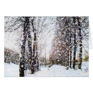 Vägen och träd i snö landskap kortet hälsningskort