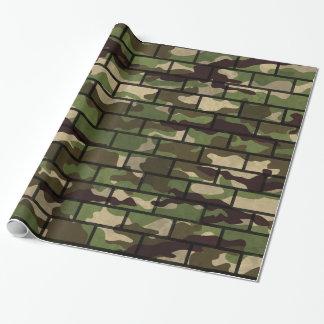Vägg för armékamouflagetegelsten som slår in presentpapper