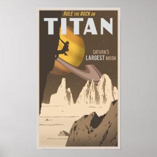 Vagga klättringen på jätte en måne av Saturn Affischer