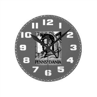 Väggen 1938 för den Pennsylvania kolaffischen WPA Rund Klocka