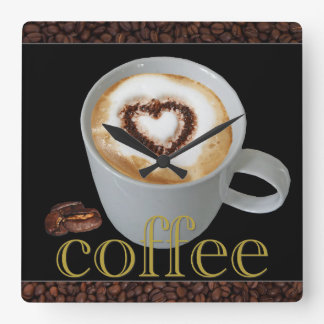 Väggen för kaffekärlekkök tar tid på fyrkantig klocka