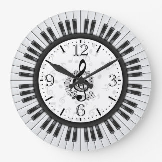 Väggen för pianonyckelmusik noter tar tid på stor klocka