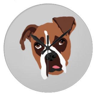 Väggen för rundan för boxarehunden tar tid på den stor klocka