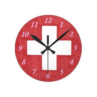Väggen för schweizareflaggarundan tar tid på rund klocka