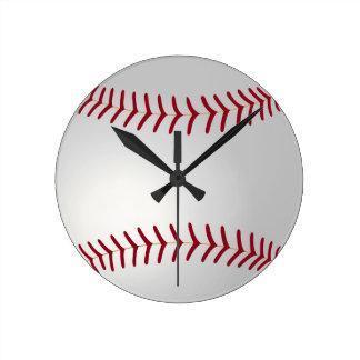 Väggen för sporttemabaseball tar tid på rund klocka