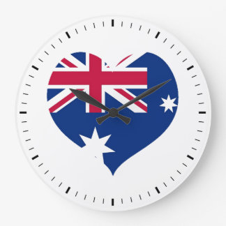 Väggen för utklipp för Australien flaggahjärta tar Stor Klocka