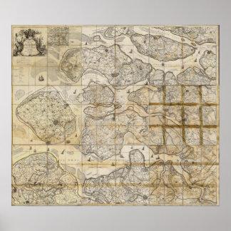 Väggen kartlägger kartan av Själland Danmark 1655 Affisch