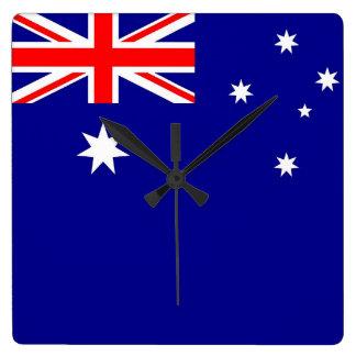 Väggen tar tid på med flagga av Australien Fyrkantig Klocka
