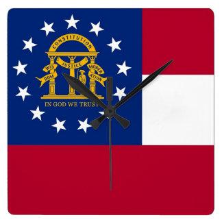 Väggen tar tid på med flagga av Georgia, USA Fyrkantig Klocka