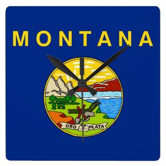 Väggen tar tid på med flagga av Montana, USA Fyrkantig Klocka
