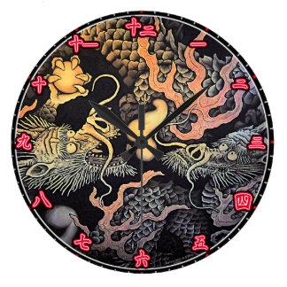 Väggen tar tid på tal för Kanji för draketempel Stor Klocka