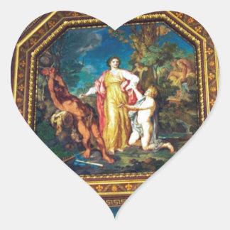 Väggmålning i det Vatican museet Hjärtformat Klistermärke