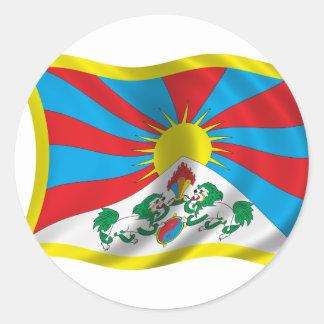 Vågigt den Tibet flagga Runt Klistermärke
