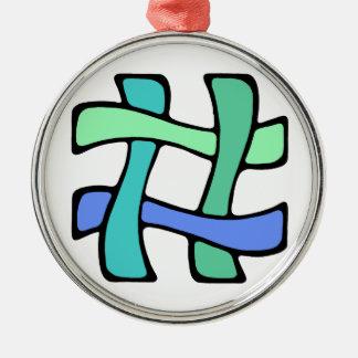 Vågigt färgrikt nr. massmedia för social för rund silverfärgad julgransprydnad
