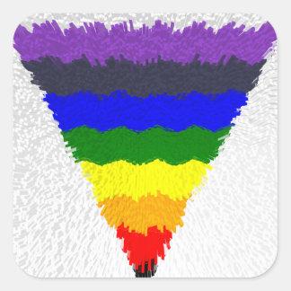 Vågigt kvarterfibrer, regnbåge somtriangeln fyrkantigt klistermärke