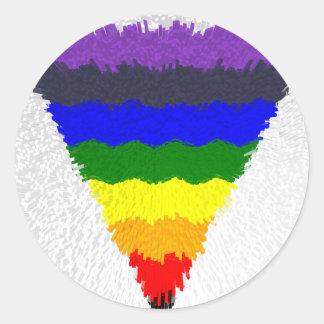 Vågigt kvarterfibrer, regnbåge somtriangeln runt klistermärke