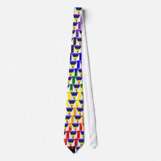 Vågigt kvarterfibrer, regnbåge somtriangeln slips