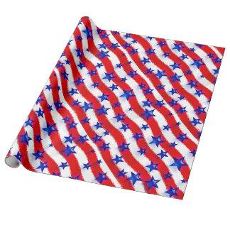 Vågigt patriotiska blåttstjärnor över röda & presentpapper