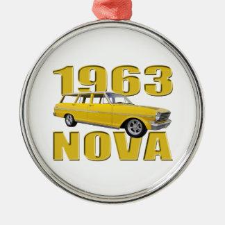 vagn för longroof II för gul nova 1963 chevy Julgransprydnad Metall
