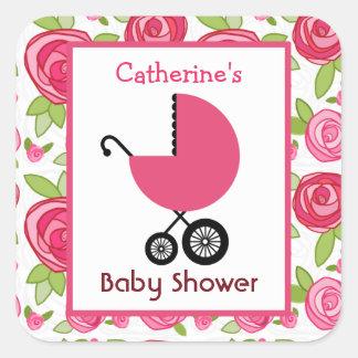 Vagn & ro för baby shower rosa fyrkantiga klistermärken