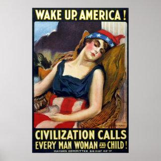 Vak upp Amerika! Vintagevärldskrig som jag poster