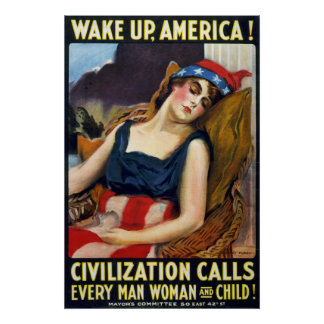 Vak upp Amerika! Vintagevärldskrig som jag poster Affisch