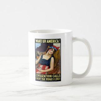 Vak upp Amerika! Vintagevärldskrig som jag poster Kaffe Koppar
