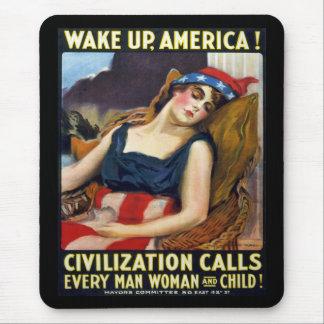 Vak upp Amerika! Vintagevärldskrig som jag poster Mus Mattor