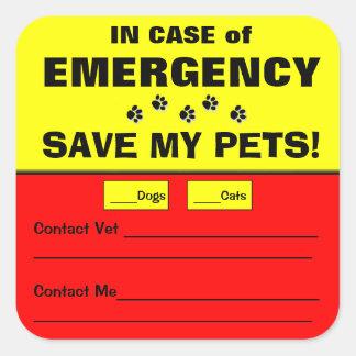 Vaken spara för akut min husdjurklistermärkear fyrkantigt klistermärke